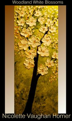 Original Contemporary modern impasto style art acrylic on canvas painting  For more of my unique art please click here www.etsy.com/artmod/shop      Title....Woodland White Blossoms    Dimensions: 40 x 16 x 1.5 deep  Background is shades of green the on top are thick white blossoms kissed with metallic gold so they shimmer with the light source of the room looks great with direct lighting.  High quality canvas with back staples, edges painted to match - Ready to hang on wall    Finest…