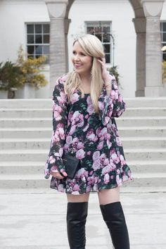 Rose Print Swing Dress | Valentine's Day Date Outfit Idea | Pearls & Twirls Life & Style Blog