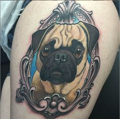 Of course this cute little guy deserves to be framed. #InkedMagazine #frame #pug #dog #tattoo #tattoos