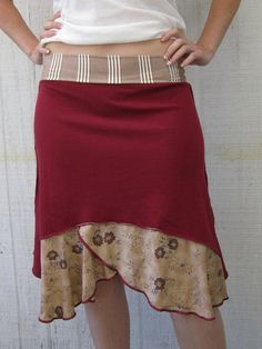 Shabby chic/ maroon and brown/ upcycled skirt/ ruffle by 75Rabbit, $55.00