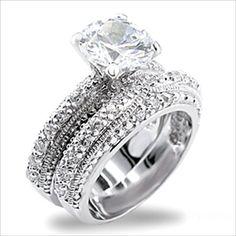 2.5 ct Brilliant Round Cubic Zirconia cz Bridal Wedding Ring Set Platinum plated
