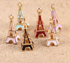Enameled Eiffel Tower charms collections 10x24mm 6 by Xialovebaby