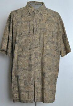 St Johns Bay Shirt 2XLT Mens Hawaiian Beige Geometric Cotton Short Sleeve #StJohnsBay #Hawaiian free shipping Buy Now  $14.99
