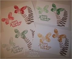 Toni Tessler (tonistamps) Independent Stampin Up Demonstrator.  In Colors, Watermelon Wonder, Crushed Cucumber, Mint Macaron, Delightful Dijon, Tip Top Taupe, Butterfly Basics stamps, Whisper White note cards.