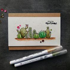 Kartenwerke, Kaktus, Cactus, Janes Doodles, Watercolor, Zigs, Pretty Pink Posh