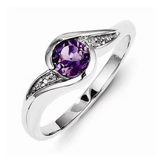 925 Sterling Silver Colored w/ White Gold Diamond and Violet Purple February Simulated Birthstone Amethyst Round Engagement Ring (.01 cttw.) (2mm) by Sonia Jewels http://blackdiamondgemstone.com/colored-diamonds/jewelry/925-sterling-silver-colored-w-white-gold-diamond-and-violet-purple-february-simulated-birthstone-amethyst-round-engagement-ring-01-cttw-2mm-com/