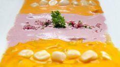 Tiradito de 3 sabores. Ají amarillo, rocoto y salsa al olivo.