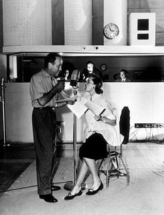 Humphrey Bogart and Lauren Bacall at a radio station, 1952. Recording an episode of Bold Venture, perhaps?