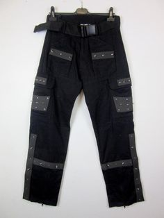 SDL Gothic Clothing Men s Studded Trousers With Belt Black Zip Up Baggy 30W