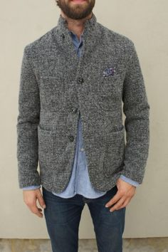 Engineered Garments Grey Homespun Jersey Lined Bedford Jacket