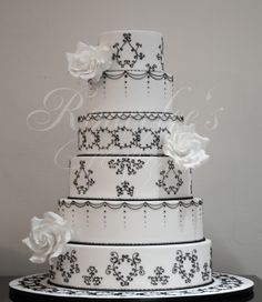 Black and White 6 tier wedding cake