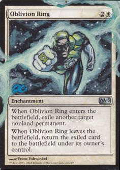 Altered Oblivion Ring as Green Lantern by DG www.squidoo.com/magic-the-gathering-altered-art-cards #mtg #magic #magicthegathering #alteredart #geek