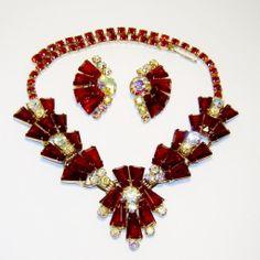 Vintage Juliana Red Keystone AB Rhinestone Necklace Earrings D&E - Available from The Vintage Carousel.  http://www.rubylane.com/item/458687-RL-852/Vintage-Juliana-Red-Keystone-AB