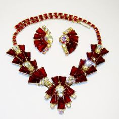 Vintage Juliana Red Keystone AB Rhinestone Necklace Earrings D&E - Available from The Vintage Carousel.  http://www.rubylane.com/item/458687-RL-852/Vintage-Juliana-Red-Keystone-AB