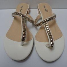 Womens Ladies White Low Block Heel Toe Post Flip Flop Sandals Size UK 4,7 New  #sandals #shoes #white #flipflops #toepost #blockheel #fauxleather #studded #summer #beach #lowheel #shopping #style #fashion #footwear #forsale #womens #womensfashion #ladies #ebay #ebayseller #ebayshop #ebaystore