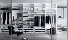 Eclectic Walk in Closet Design Crafted of High Gloss Finish Wood : Cool Walk In Closet Design White Storage Black Chair Sliding Glass Door