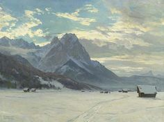 Edward Harrison Compton - Mountain landscape in winter. I'm in love with this guy's mountains.