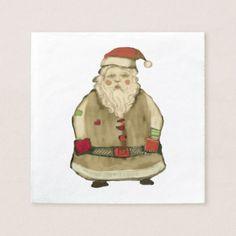 Folk Whimsy Santa Claus Christmas Party Napkin - kitchen gifts diy ideas decor special unique individual customized