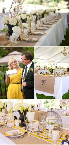 white table cloth/ burlap topper/stripped table runner