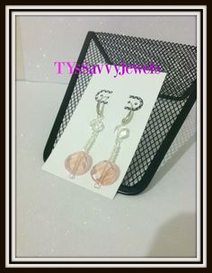 Pink and White Swarovski Crystal Dangle Drop by TYsSavvyJewels