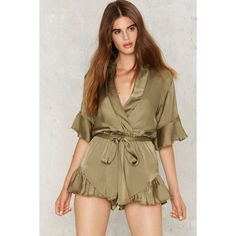 Mad World Satin Romper ($68) ❤ liked on Polyvore featuring jumpsuits, rompers, green, satin romper, green romper, sash belt, satin rompers and v neck romper