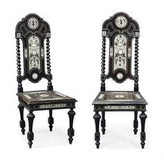 A PAIR OF MILANESE EBONISED AND IVORY-INLAID SIDE CHAIRS