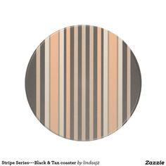 Stripe Series---Black & Tan coaster