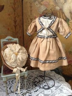 19th century french doll | ... Pretty Original French 19th. century Doll Dress with Bonnet