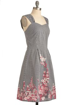 Super cute casual striped & floral dress - makes me wanna go to a garden tea party :) via ModCloth