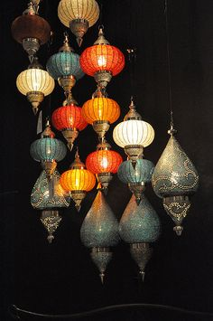 Beautiful moroccan pendant lamps  Just the blue, white, and brown though.