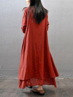 Gracila Vintage Women Long Sleeve V-Neck Irregular Maxi Dresses
