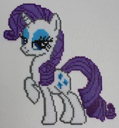 Rarity from My Little Pony, made with Hama mini beads. Pearler Bead Patterns, Perler Patterns, Perler Bead Art, Perler Beads, Cross Patterns, Beading Patterns, Rarity My Little Pony, Mlp Rarity, Pix Art
