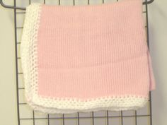 Knitted on Hand Knitting Machine Raspberry Cotton By Blanket Trimmed By Hand Crochet with White Chenille for Newborns and Infants Knitting Machine, Hand Knitting, Hand Crochet, Knit Crochet, Knitting Kits For Beginners, Baby Kit, Kits For Kids, Baby Accessories, Newborns