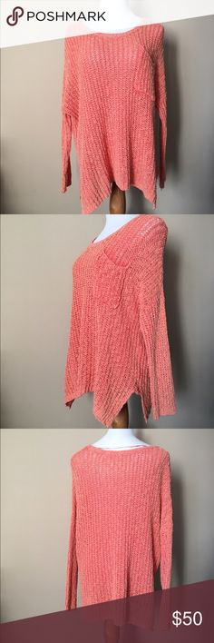 """Free People crochet sweater Coral colored crochet sweater. Pocket in the front. Near the armpit there is a little """"hole"""" - I use quotes because the whole sweater is made of holes so I'm not exactly sure what to call it 😂. Free People Sweaters Crew & Scoop Necks"""