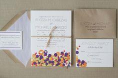 Modern Color: Confetti Inspired Wedding Invitations — Paper and Thread