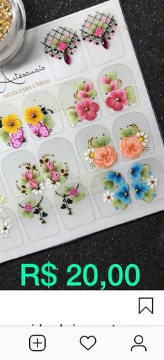 Barbie, Nail Art, Table Decorations, Nail Stickers, Flower Nails, White Nail Beds, Colorful Nails, Nail Manicure, Nail Arts