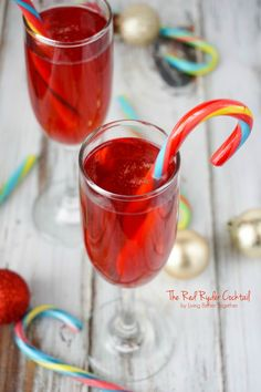 This Red Ryder cocktail was inspired by the film A Christmas Story and combines triple sec, cranberry juice, moscato and sweet tart candy canes in a class of pure holiday spirit!