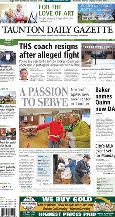 The front page of the Taunton Daily Gazette for Friday, Jan. 16, 2015.