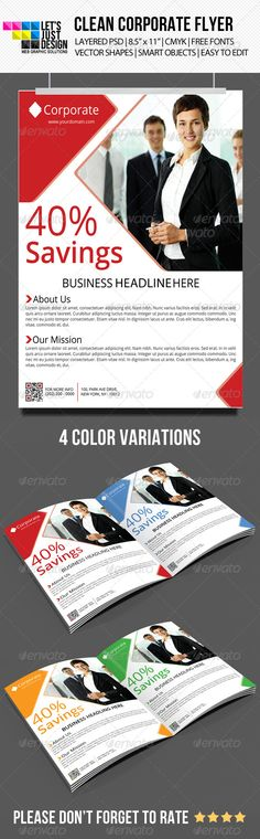 """Clean Corporate Flyer #GraphicRiver Clean Corporate Flyer Template Features: 4 Layered PSD. Fully Editable Files 8.5"""" x 11"""" (8.75"""" x 11.25"""" with bleeds.) 300 DPI CMYK Colors. Print Ready Files. Free Fonts Used ( Fonts info available in Help file.) QR Code and Smart Objects Editing Instructions. Support Provided. Fonts: OPEN SANS: .fontsquirrel /fonts/open-sans Files Included: 4 PSD Files (4 Color Variations) 1 TXT (HELP FILE) IMAGES NOT INCLUDED You can purchase the image here: photodune…"""