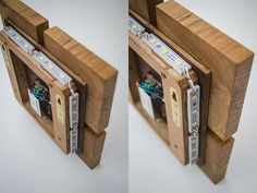 Wandleuchte aus Holz Dekor 1 handgefertigt. Eiche LED-Lampe.
