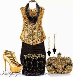 Gold and black Types Of Clothing Styles, Fashion Outfits, Womens Fashion, Besties, Beautiful Women, Classy, Formal Dresses, Stylish, How To Wear