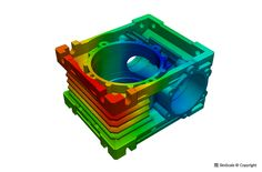 Thermal simulation of a worm gearbox housing.