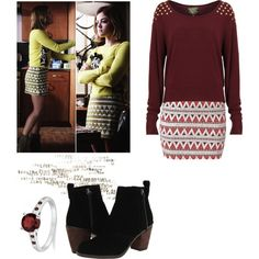 Aria Montgomery - pll / pretty little liars by shadyannon on Polyvore featuring Dolce Vita, Allurez, women's clothing, women's fashion, women, female, woman, misses and juniors