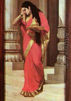 Maharashtrian Beauty reproduction by Raja Ravi Varma - Artchive.com