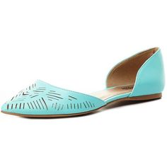 Charlotte Russe Mint Laser-Cut Pointed Toe D'Orsay Flats by Charlotte... (29 AUD) ❤ liked on Polyvore featuring shoes, flats, pointy-toe flats, pointed toe flats, pointy toe flat shoes, vegan shoes and charlotte russe flats