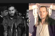 Celebrity Lookalikes From The Past - Answers.com  L- Fidel Castro, R- Liam Neeson