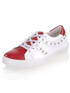 Alba Moda Sneaker mit silberfarbenen Nieten für 95,99€. Strasssteinchen- und Nietenverzierungen, Effektvoller Farbkontrast von Rot und Weiß, 4-Lochung bei OTTO Alba Moda, Sneaker High, Mode Online, Superga, Bunt, Baby Shoes, Chic, Sneakers, Clothes