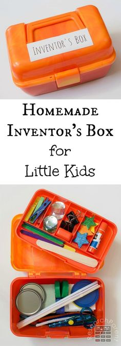 Inventor's Box/Craft Box/Tinker Kit for Little Kids (Ages 3 to 5 Years Old). - Inventor's Box/Craft Box/Tinker Kit for Little Kids (Ages 3 to 5 Years Old). Includes a List of S - Toddler Activities, Preschool Activities, 3 5 Year Old Activities, Toddler Play, Fun Craft, Kids Craft Box, Craft Ideas, Play Ideas, Craft Kits