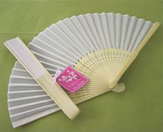 White silk hand fans, easy to personalise and cheaper than you'd think.