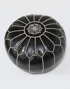 Filled Moroccan Leather Pouffe - Black/White - H30 W50cm